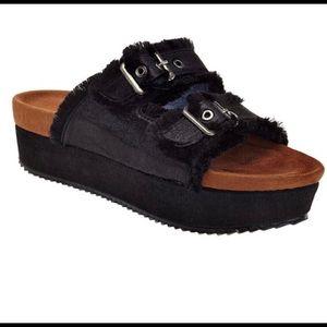 Black platform fringe sandals